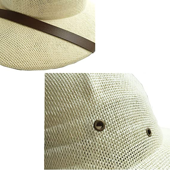 41ca1fe296ff1 1 pcs Straw Helmet Pith Sun Hats Men Vietnam War Army Hat Dad Boater Bucket  Hats Safari Jungle Miners Cap Beige at Amazon Men s Clothing store