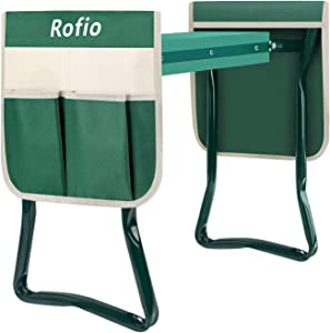Rofio Garden Kneeler Seat, Heavy Duty Folding Stool with 2 Large Tool Pouches, EVA Foam Pad Portable Kneeler for Gardening, Lightweight