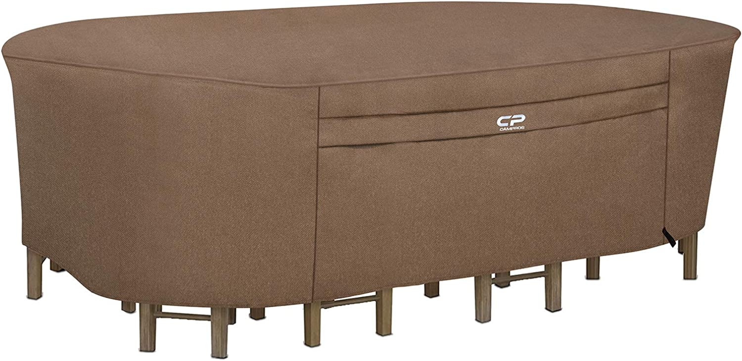 CAMPROS Oval Patio Table Cover Ultimate Waterproof Heavy Duty Canvas Dining Table Chair Set Covers Outdoor Patio Furniture Cover, UV Resistant - 134L x 84W x 35H inch- Brown