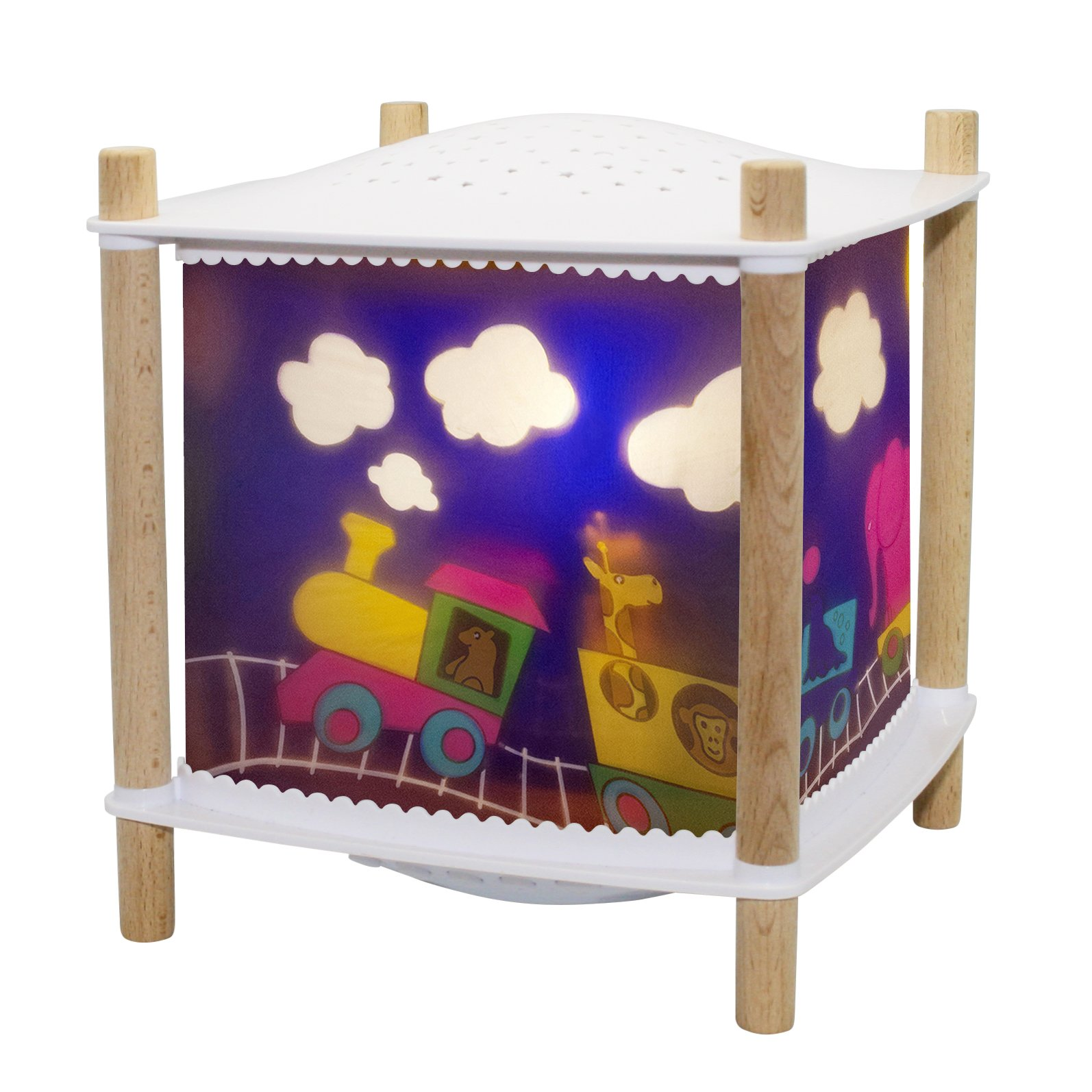 Trousselier - Animal Train - Night Light - Lantern Revolution 2.0 - Cry Detector & Musical & Wireless & USB Rechargeable