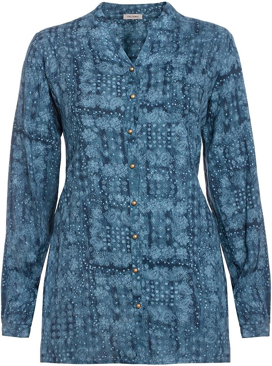 Fiorella rubino: Camisa étnica de Viscosa Estampada. Plus Size