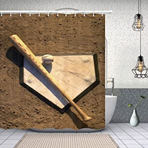 NYMB USA Sport Baseball Shower Curtain, Grunge Baseball on Rustic Wooden Home Plate Fabric Shower Curtain, Rustic American Bathroom Fantastic Decorations,69X70in