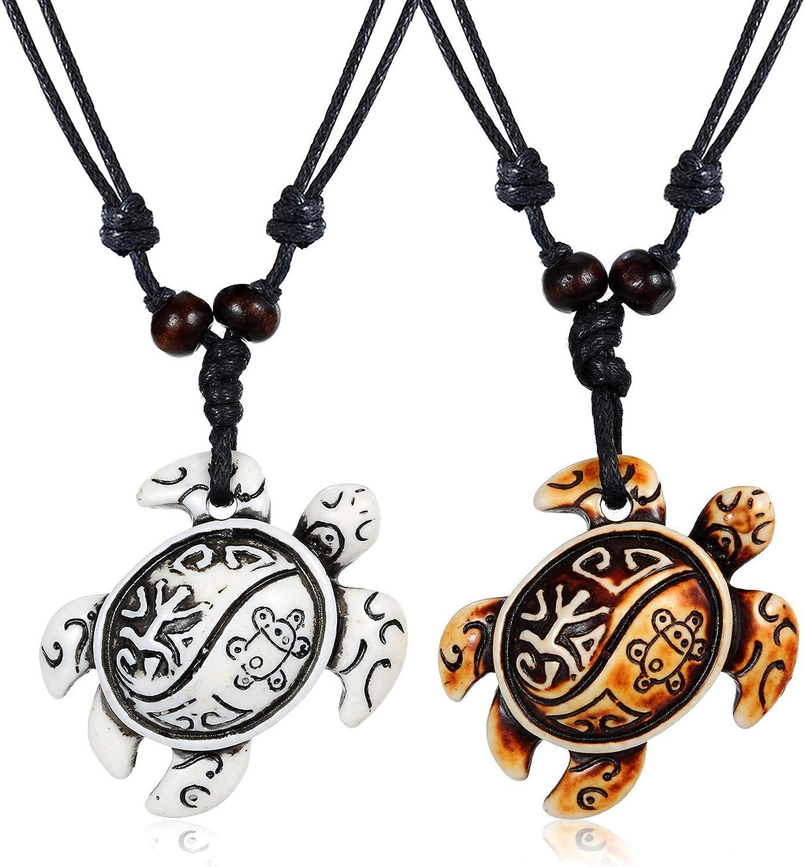 MengPa Boys Sea Turtles Pendant Necklaces Gifts for Women Men Adjustable Rope 2/6/8 Pcs