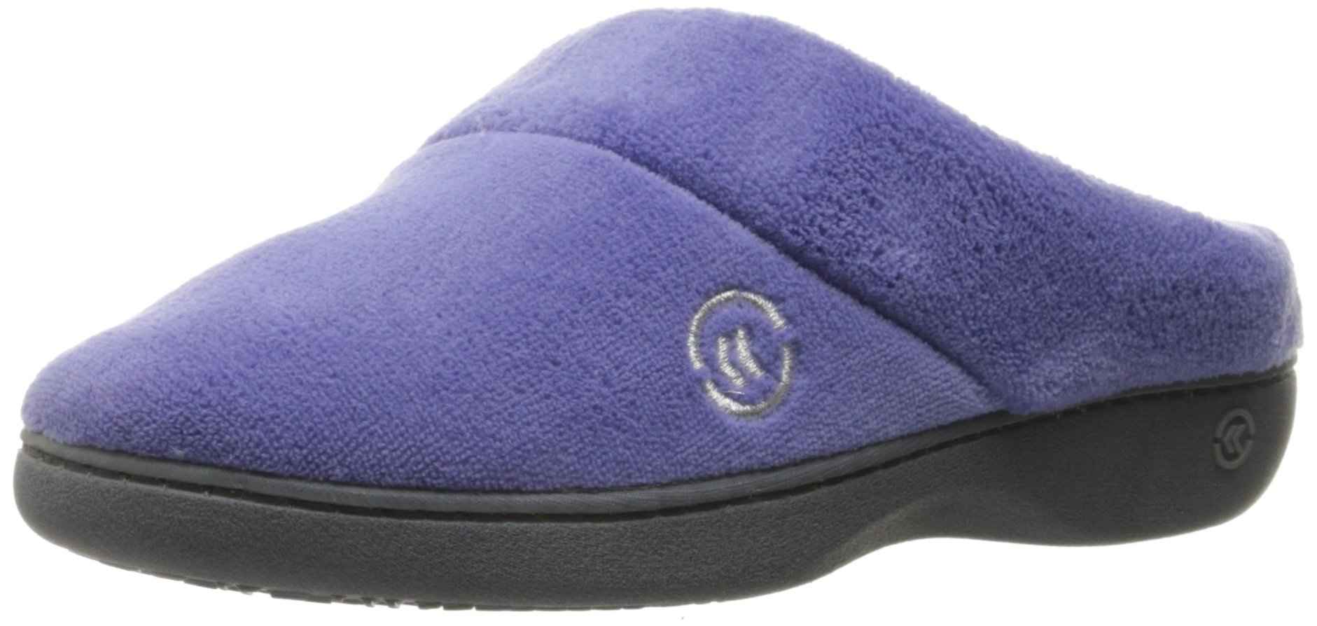 ISOTONER Women's Terry Slip On Cushioned Slipper with Memory Foam for Indoor/Outdoor Comfort and Arch Support, Deep Periwinkle, Large/8.5-9 M US