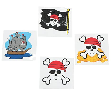 Pirate Tattoos 72 Per Package