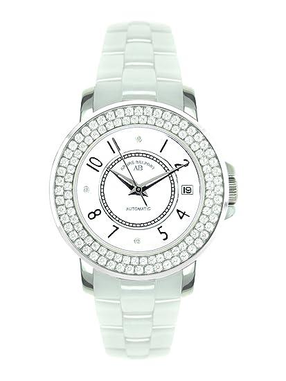 André Belfort 410112 - Reloj analógico de mujer automático con correa de cerámica blanca - sumergible a 50 metros: Amazon.es: Relojes