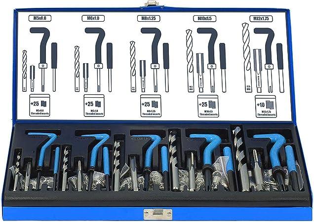 131tlg Gewindereparatur M5 M6 M8 M10 M12 Gewinde Reparatursatz Werkzeug Satz Top