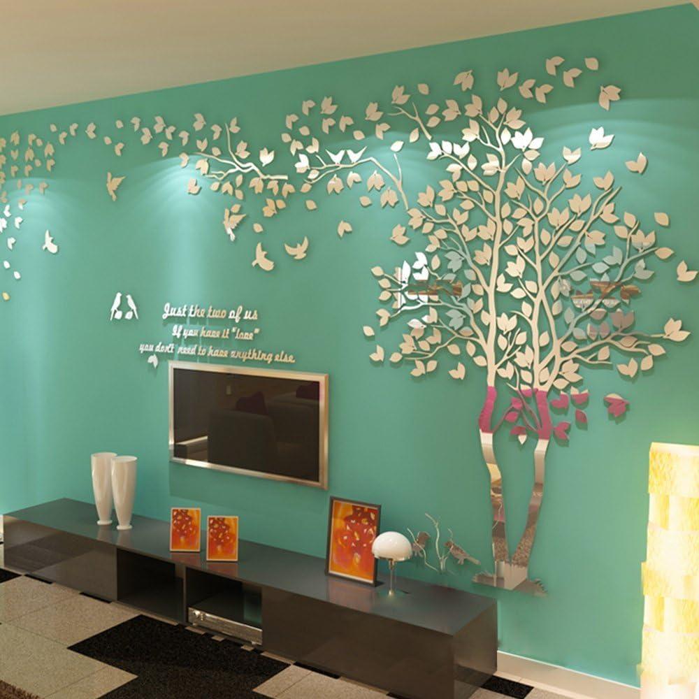L, Argent, Droit ZZYOU 3D mur Autocollant /Énorme vert Arbre mur Decal mur Murales Acrylique DIY Accueil D/écoration Art