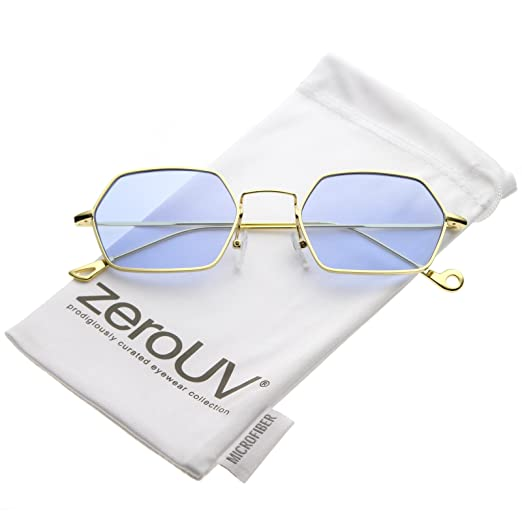 9425a8694b zeroUV - Small Metal Ultra Slim Arms Colored Flat Lens Hexagon Sunglasses  51mm (Gold