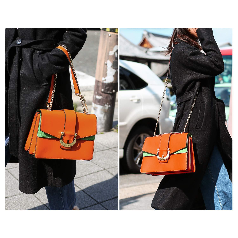 PACO TORA Crossbody Bags for Women Color-block Handbags PU Leather Shoulder Bag Satchel Chamois