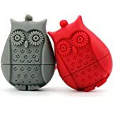 2pcs Silicone Mini Owl Tea Bag,Ezeso Reusable Tea Filter Infuser Strainer for Coffee Herb Punch (Red + Grey)