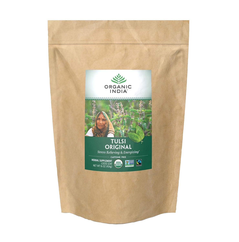 Organic India Tulsi Original Loose Leaf Herbal Tea - Immune Support, Vegan, Gluten-Free, Kosher, USDA Certified Organic, Non-GMO, Caffeine-Free, Healthy Stress-Relief & Uplift Mood - 1 lb Bag