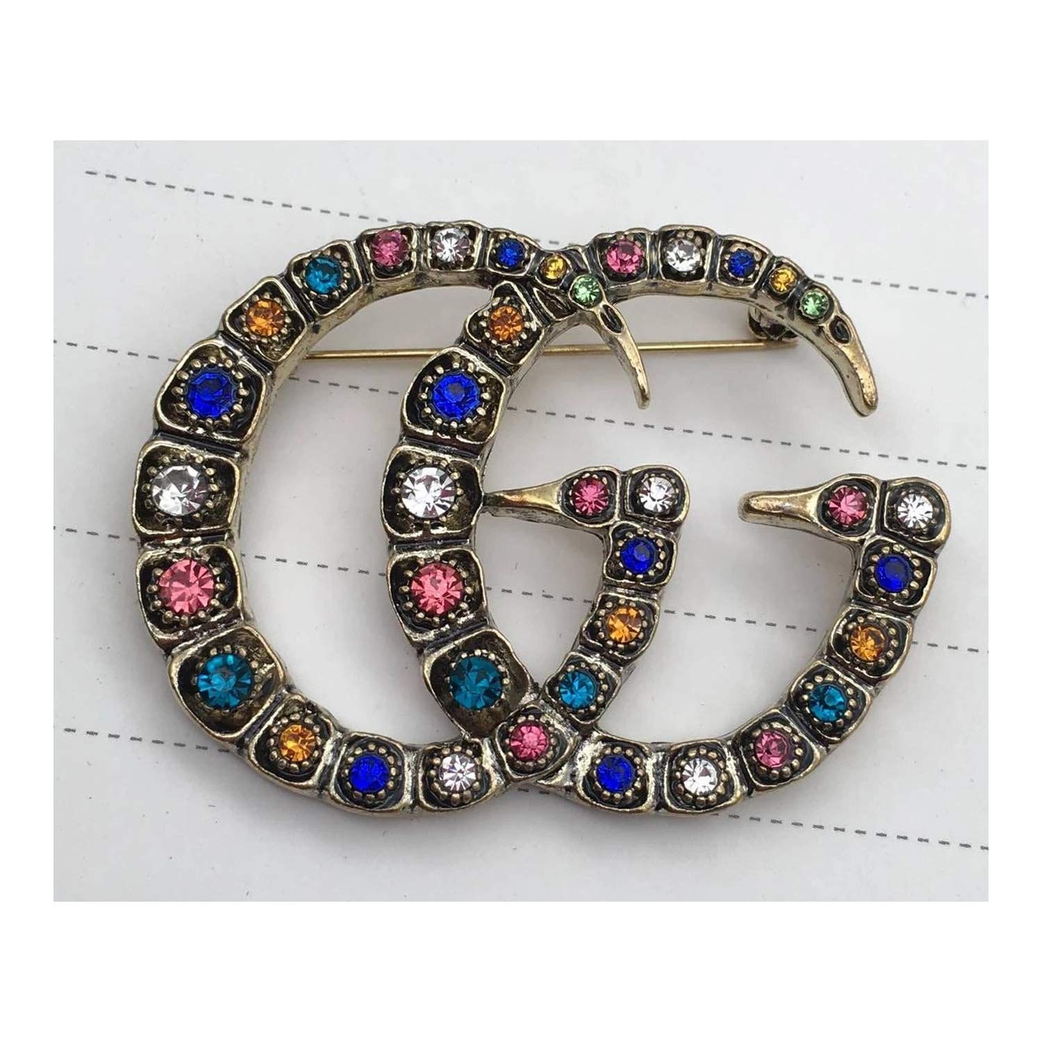 tianshiya Women's Fashion Brooches & Pin Letter Designed Metal and Crystal Paved with Multi-Options … (gg-Colorful)