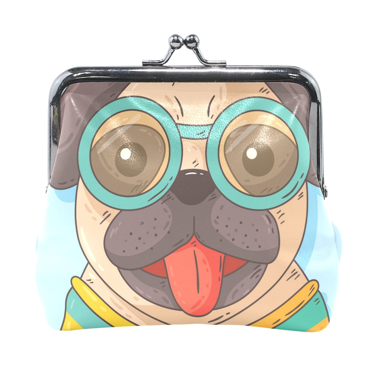 Ethel Ernest Pug Wearing Glasses Coin Wallets Mini Purse for Womens Girls Ladies