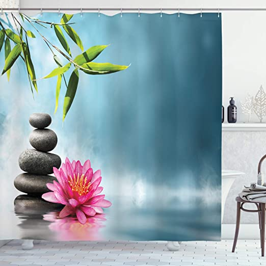 Amazon Com Ambesonne Spa Shower Curtain Spa Theme With Lily