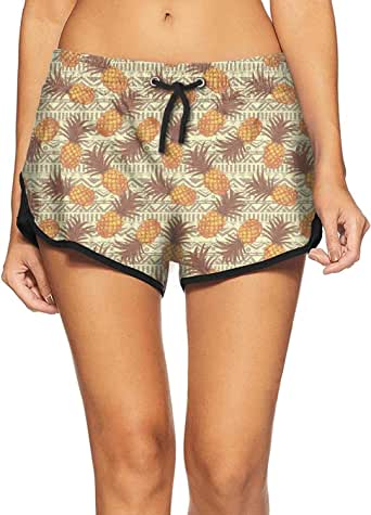 SA/Cool Yellow Pineapple Exotic Stripe Women's Swimming