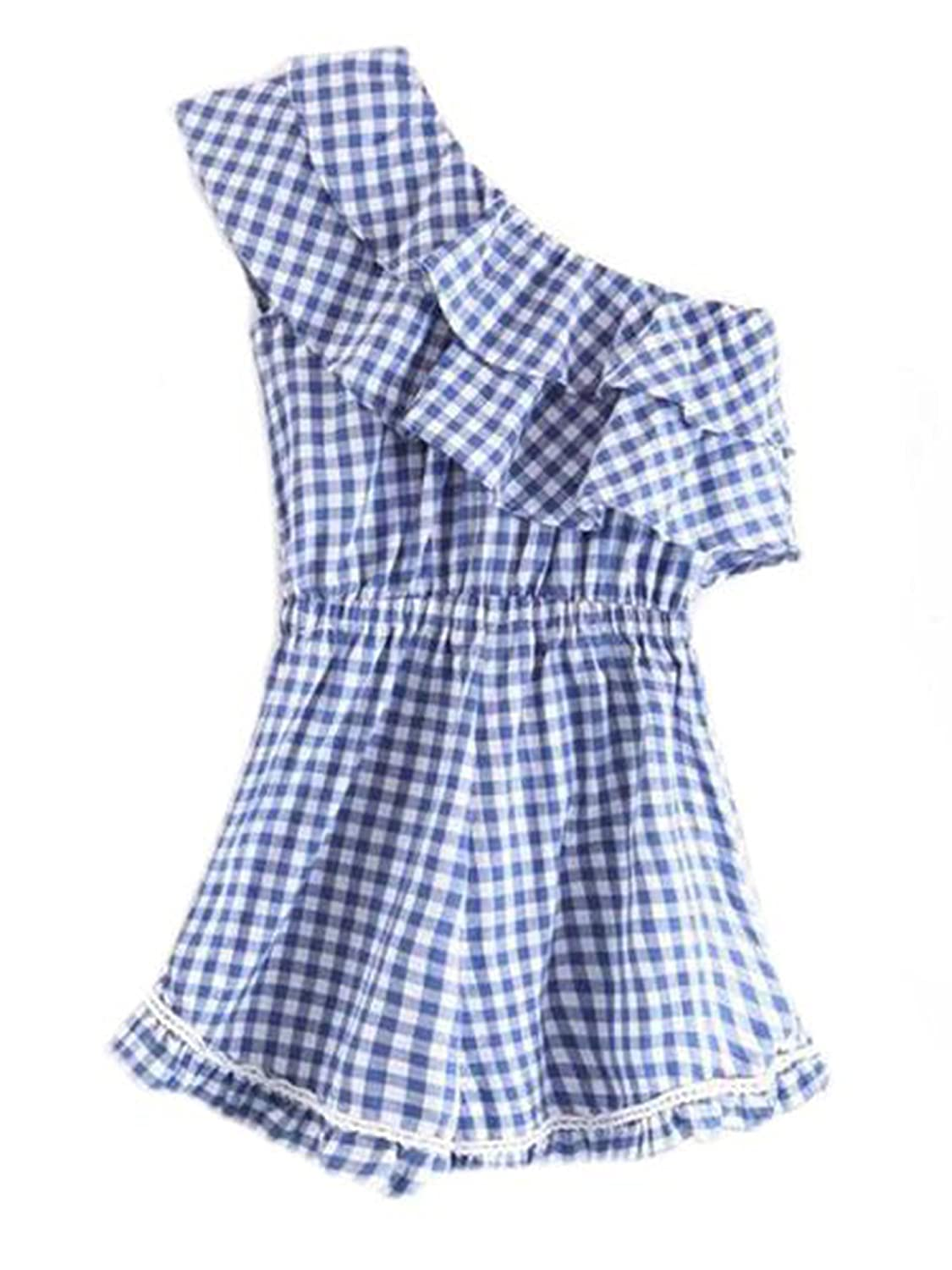 a5ad938479f6 Amazon.com  Goodnight Macaroon Sawyer  Blue Gingham Single Shoulder Layered  Ruffle Romper  Clothing