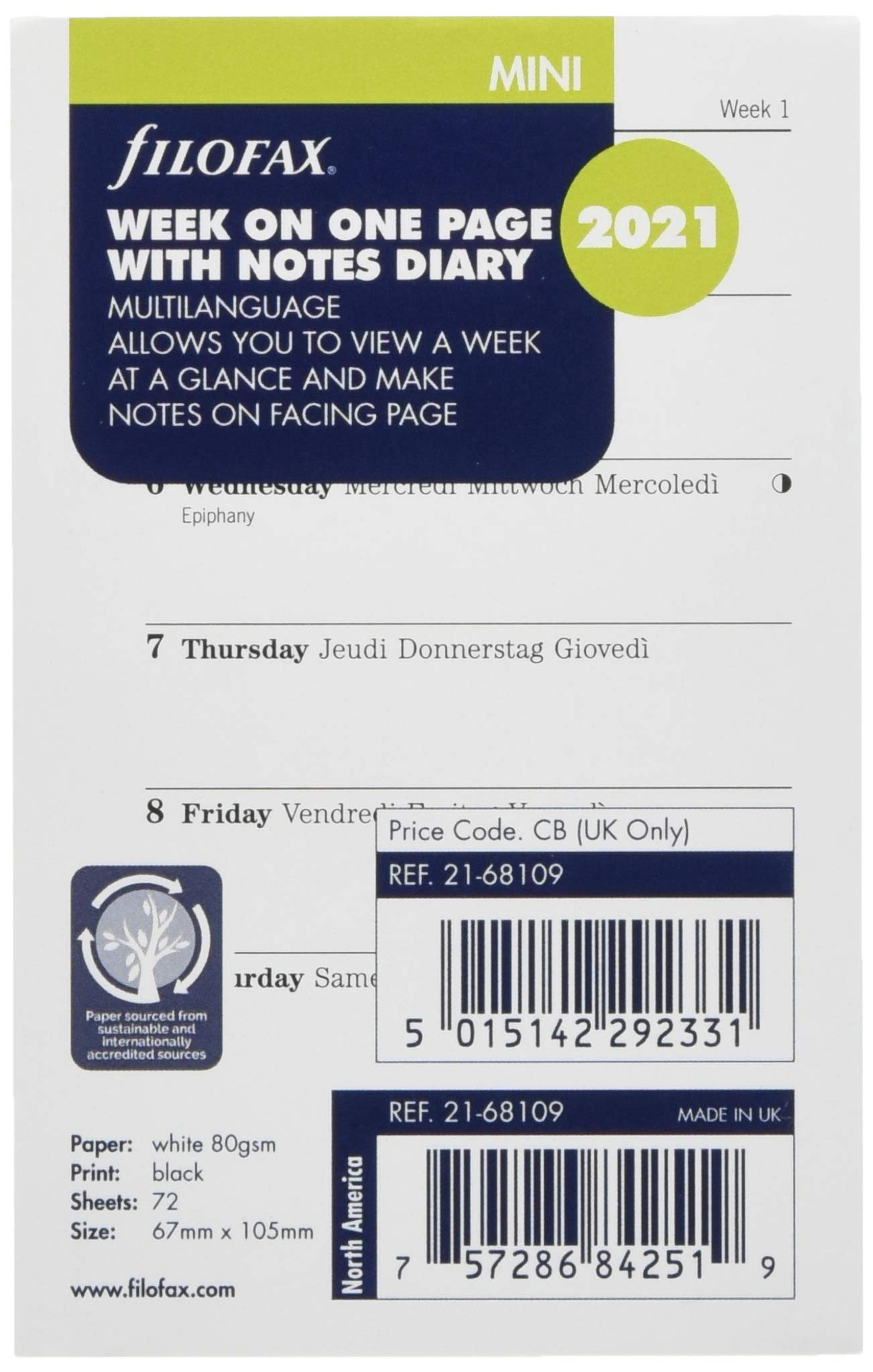 Filofax Mini Week on one Page with Notes 2021 Diary Refill