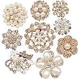 批9件装金色水钻 brooches , eglomart 大珍珠*婚礼花束套装