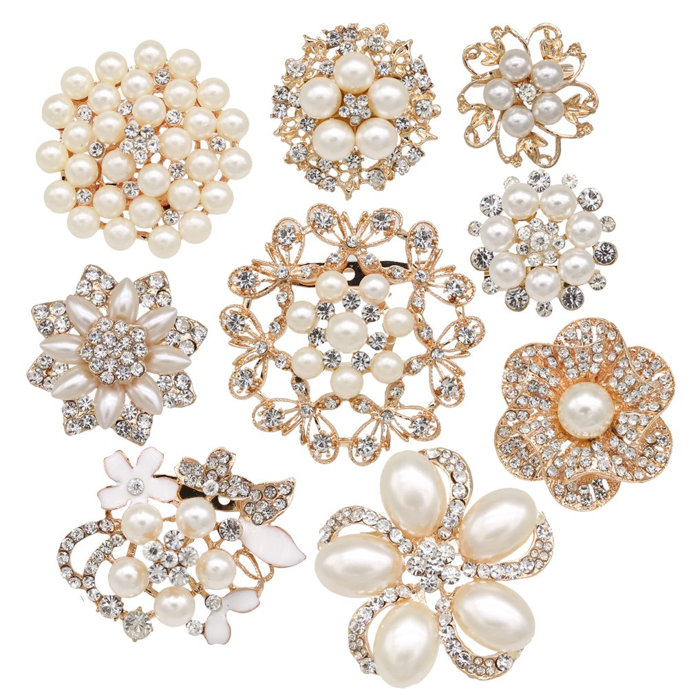 Lot 9pcs Gold-tone Rhinestone brooches, eGlomart Big Pearl Crystal wedding bouquet kit set Z01010RG