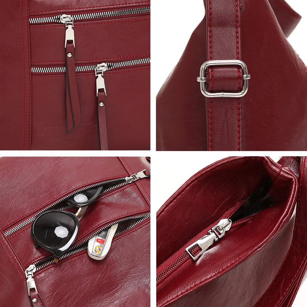 Coolives dam hobo axelväska handväska axelväska ryggsäck av läder Casual Daypack engångs Vinröd