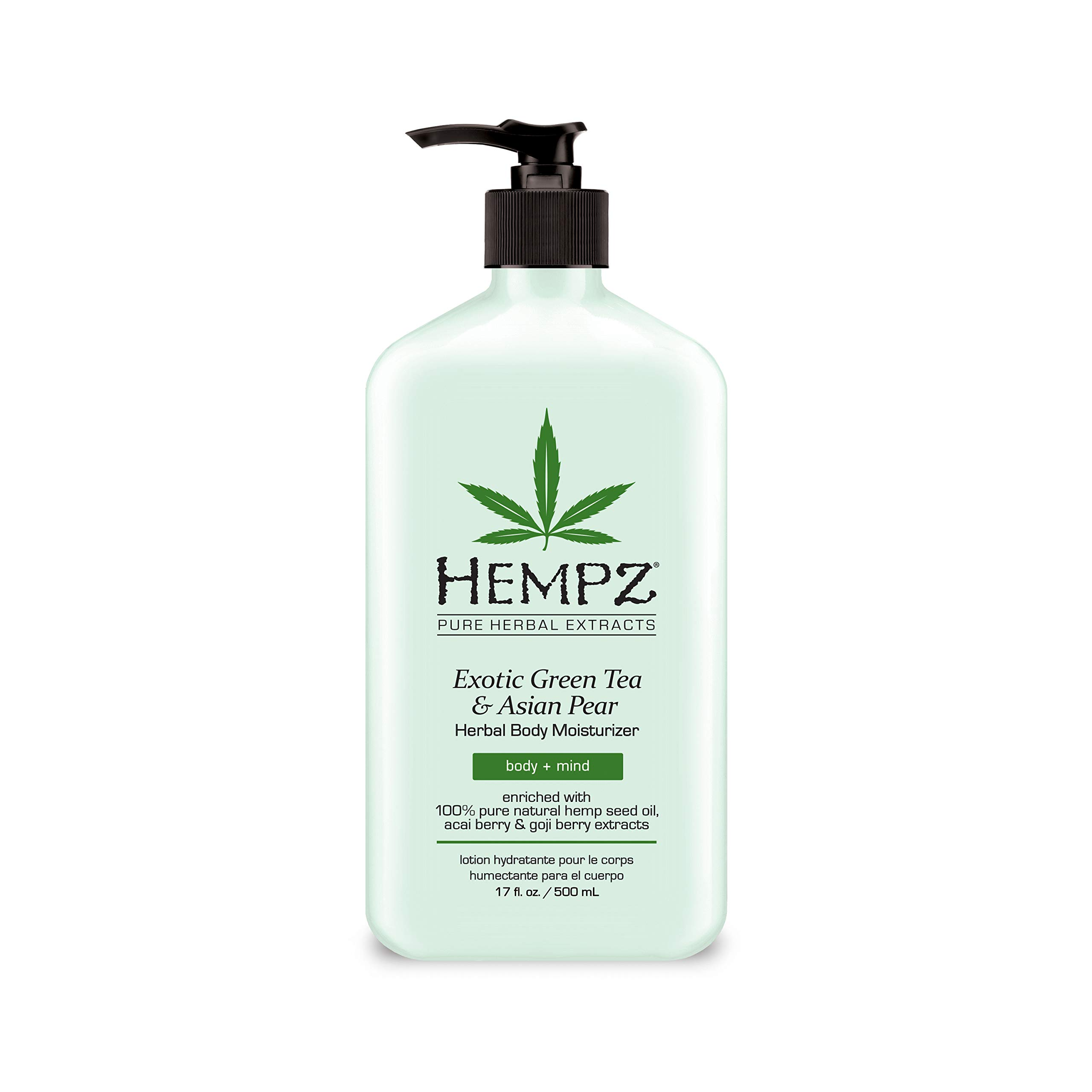 Hempz Exotic Natural Herbal Body Moisturizer with Pure Hemp Seed Oil, Green Tea and Asian Pear, 17 Fluid Ounce - Pure, Nourishing Vegan Skin Lotion for Dryness and Flaking with Acai and Goji Berry by Hempz