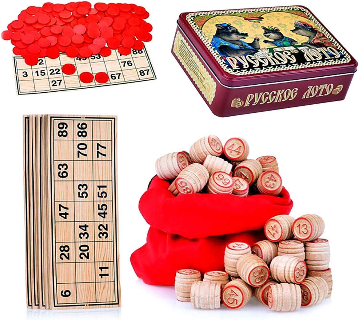Russian Lotto Board Game Set Three Bears - Tambola Bingo Game Set in Tin Box Metal Case - Rysskoe Loto Loteria Cards