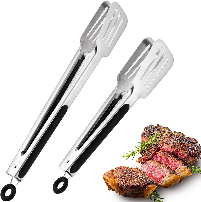"""LessMo Pinzas de Cocina, Pack de 2 (9 """"y 12""""), Pinzas de Cocina de Acero Inoxidable de Primera Calidad con empuñadura de Silicona Antideslizante"""