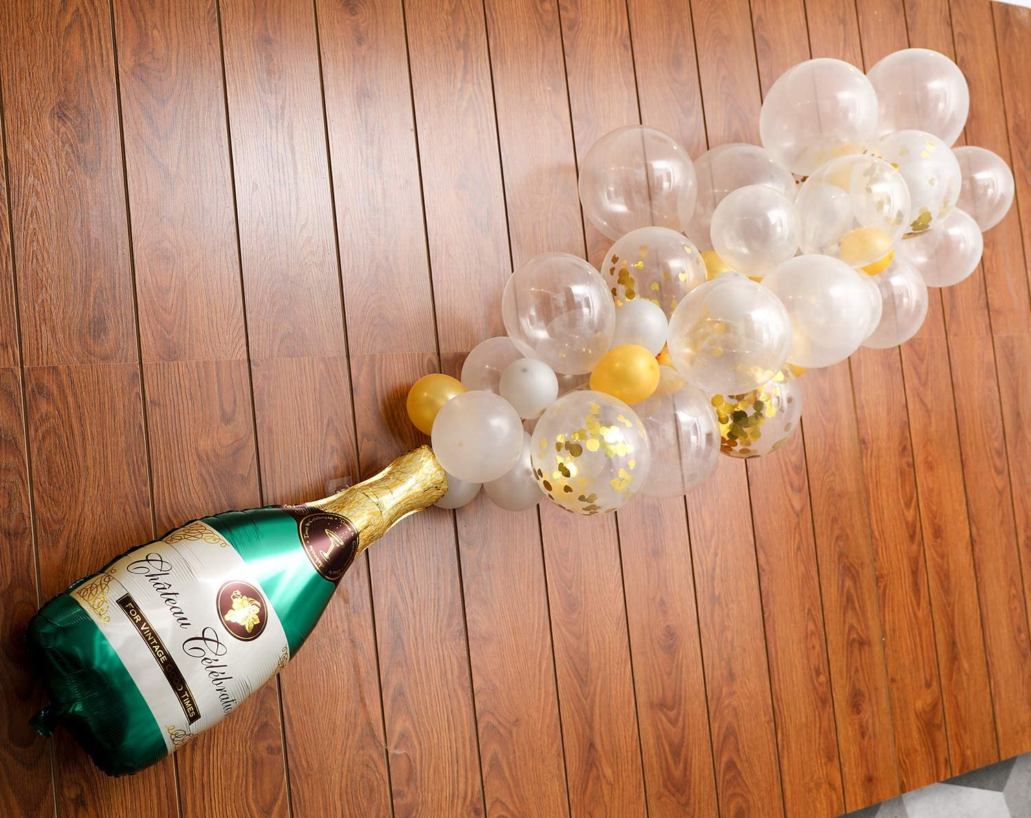 "Champagne Bottle Balloon Kit, 2Pcs 40"" Champagne Bottle Balloon & 70Pcs Assorted Balloons Ideal for Wedding Birthday Bachelorette Bridal Shower Party Decorations"