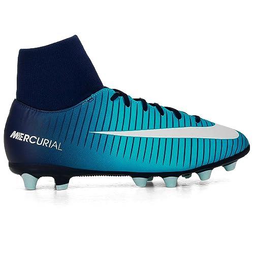 NIKE Botas Fútbol MercurialX Victory VI Azul Con Calcetin Suela AG Niño (32)