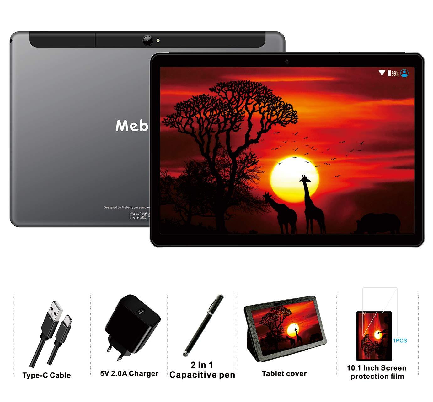 Type-c WiFi 5.0+8.0 MP Cam/éra 64Go Bluetooth GPS Gris 4Go de RAM Tablette 4G LTE Dual SIM Tablette Tactile 10 Pouces Android 9.0 Pie MEBERRY