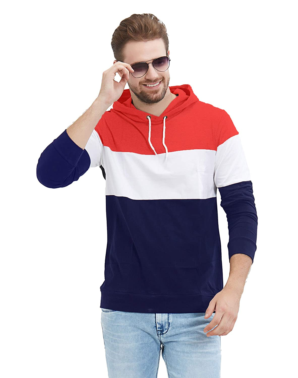 Men's Full Sleeve Red, White, Navy Hooded T-Shirt (100% Cotton, Bio-Washed)