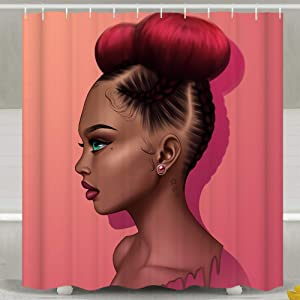 SARA NELL Black Girl Shower Curtain,African Amerian Woman Girl Red Hair Anime Style Shower Curtain,Waterproof Bathroom Curtains for Girls, Fabric Shower Curtains Hooks for Home Decor Gifts, 72