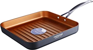 Copper Pan 10-Inch Nonstick Deep Ribbed Square Grill Pan, Deep Griddle Pan with Stainless Steel Handle, Dishwasher Safe Oven Safe