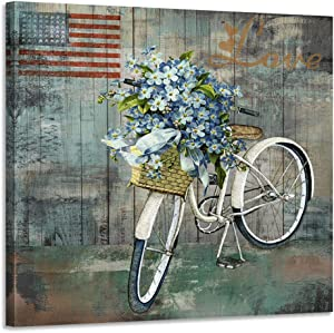 "Acocifi Canvas Wall Art Vintage Bicycle Flowers Painting American Flag Picture Prints Abstract Artwork Framed for Bedroom Living Room Kitchen Dinning Room Bathroom Corridor Home Office Decor, 14""X14"" Square Size, One Panel"