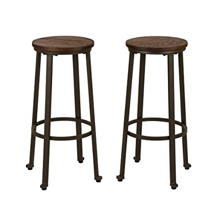 Terrific Glitzhome Rustic Steel Bar Stool Round Wood Top Dining Room Pub Height Chairs Set Of 2 Machost Co Dining Chair Design Ideas Machostcouk