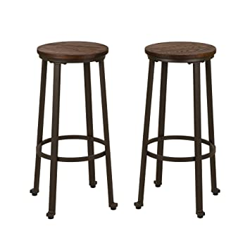 Image Unavailable Not Available For Color Glitzhome Rustic Steel Bar Stool Round Wood Top Dining Room Pub Chairs