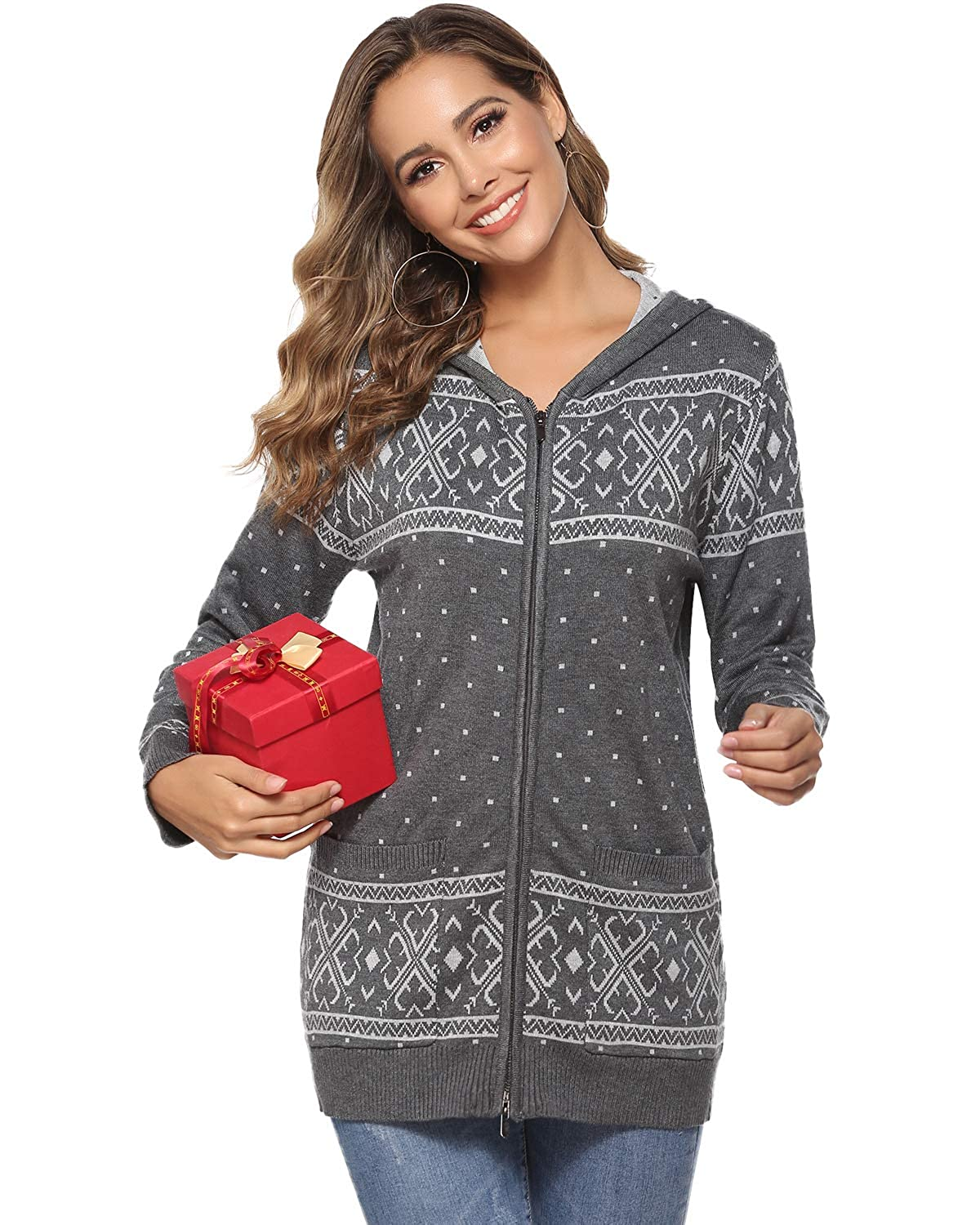Hawiton Womens Snowflake Christmas Sweaters Coat Zipper Hooded Xmas Knit Cardigan with Pocket