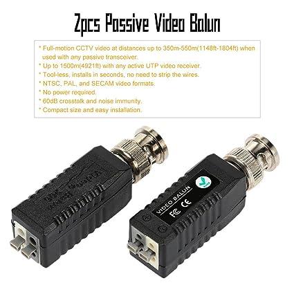 KKmoon 2 Coax CAT5 Cámara CCTV Pasivo BNC Video Balun UTP Transceptor Conector
