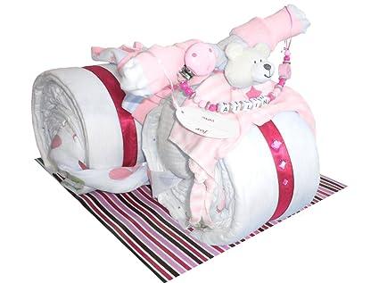 Pañales para tartas niña Incluye Cadena para chupete con nombres Rueda de motor para bautizo nacimiento