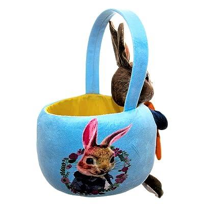 """11"""" Easter Basket Plush Peter Rabbit in Blue Velveteen Jacket Holding Carrot: Toys & Games"""