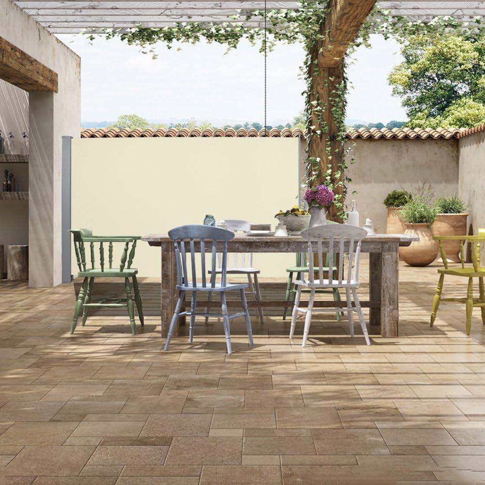 VINGO 180 x 300 cm Seitenmarkise Beige T/ÜV,Rei/ßfestigkeit,seitlicher Sichtschutz sichtschutz,gepr/üft UV,f/ür Balkon Terrasse ausziehbare markise