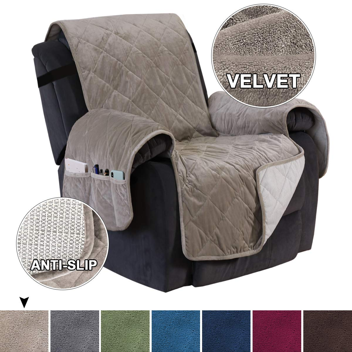 Velvet Recliner Slipcover Slip Resistant Furniture Cover for Large Recliner, Seat Width Up to 28 Inch Washable Furniture Protector Slip Cover Throw for Pets Furniture Cover (Recliner, Taupe)