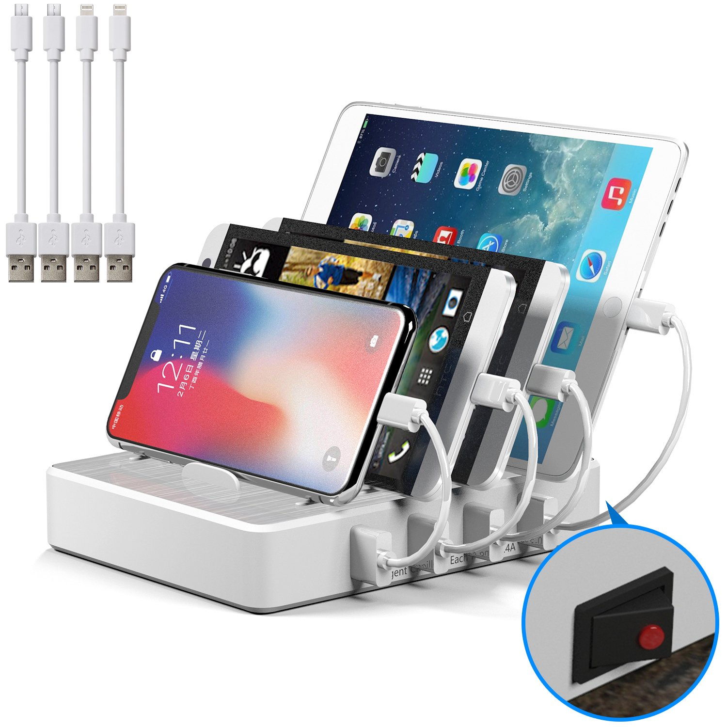 Charging Station, JZBRAIN USB Charging Station Dock 4-Port Charging Stand Organizer Multiple Charger Station & Desktop Docking Station Cell Phones Tablets Samsung Galaxy (Include 4 Cables, White)