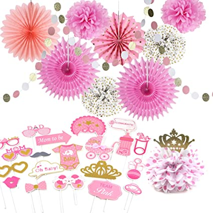 Baby Girl Princess Pink And Gold Birthday Party Decoration Gender Reveal Little Lady Mom To Be