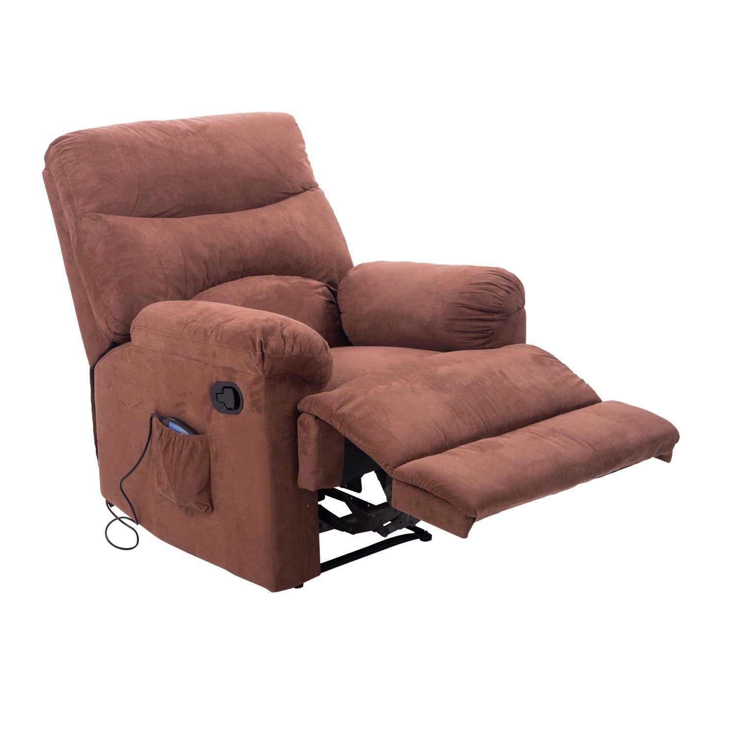 Amazon Hom Heated Vibrating Suede Massage Recliner Brown