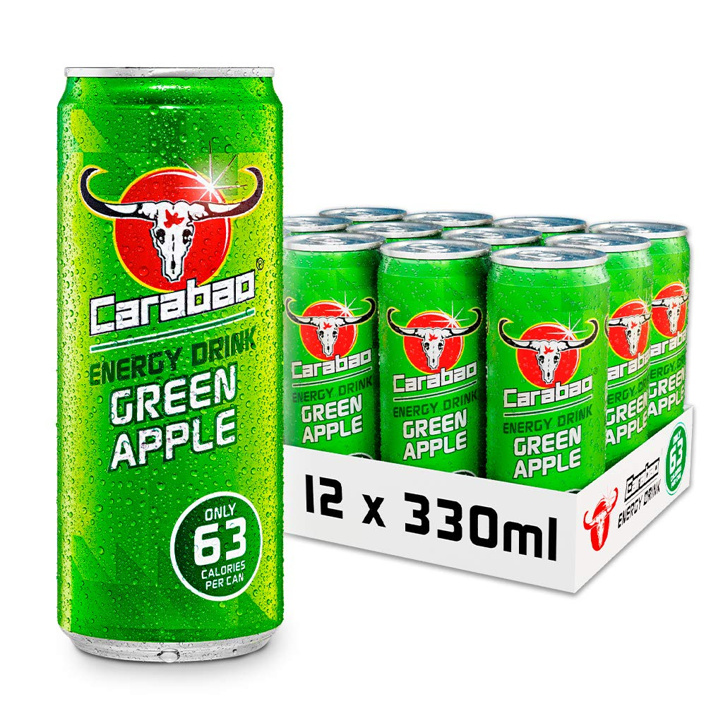Carabao Energy Drink Green Apple, 12 x 330ml Case Cans, Low Calories and less Sugar, Tasty Fizzy Flavour, Vegan, Vitamin B, Taurine and Caffeine with Zero Crash, Bulk crates, Multipack
