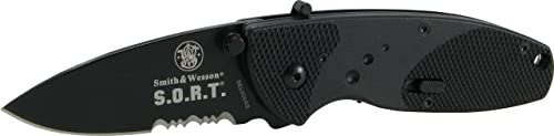 Smith Wesson SWSORTBS Sort Serrated Assisted Knife, Black