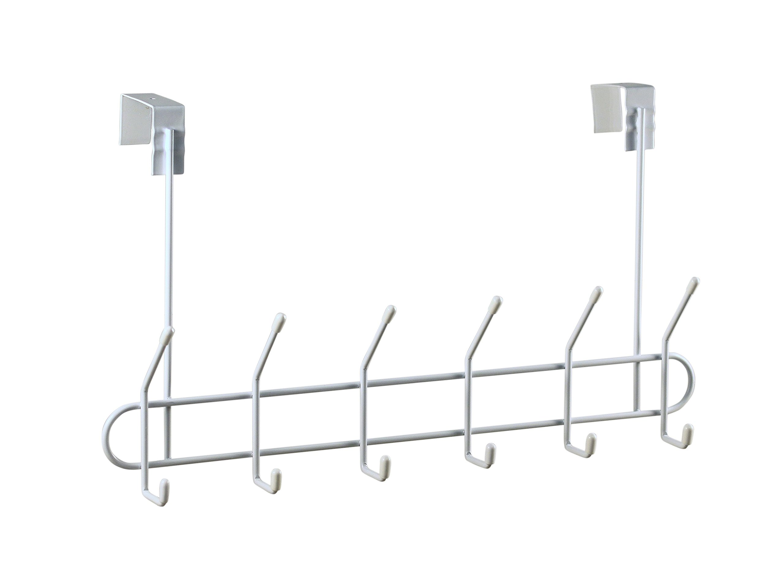 Spectrum Diversified Over the Door Coat Rack, 6-Hook, White