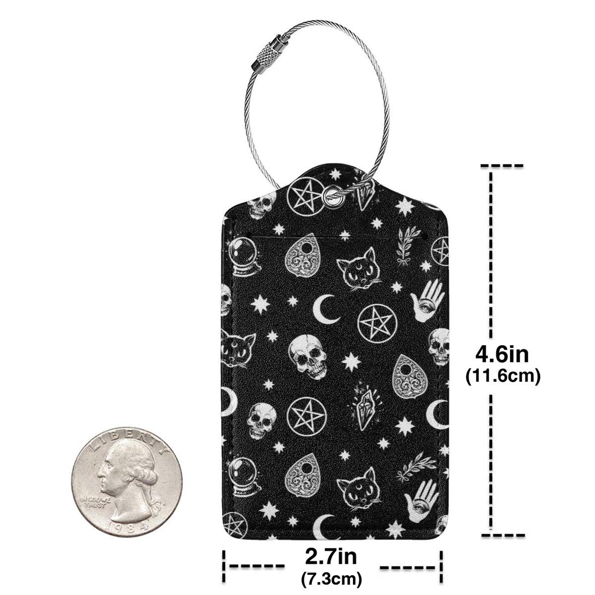 Skull Cat Moon Gothic Pattern Black Luggage Tag Label Travel Bag Label With Privacy Cover Luggage Tag Leather Personalized Suitcase Tag Travel Accessories